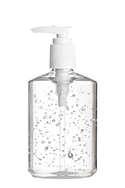 Hand Sanitizer Gel in Clear Pump Bottle stock photo