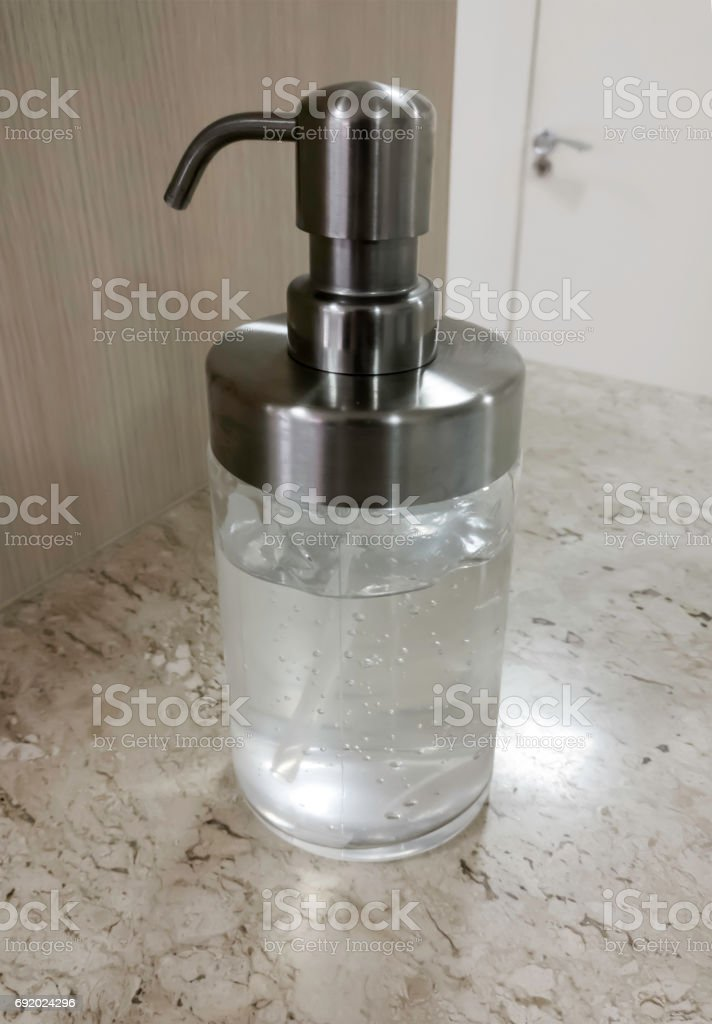 Hand Sanitizer Gel in Clear Pump Bottle stock photo