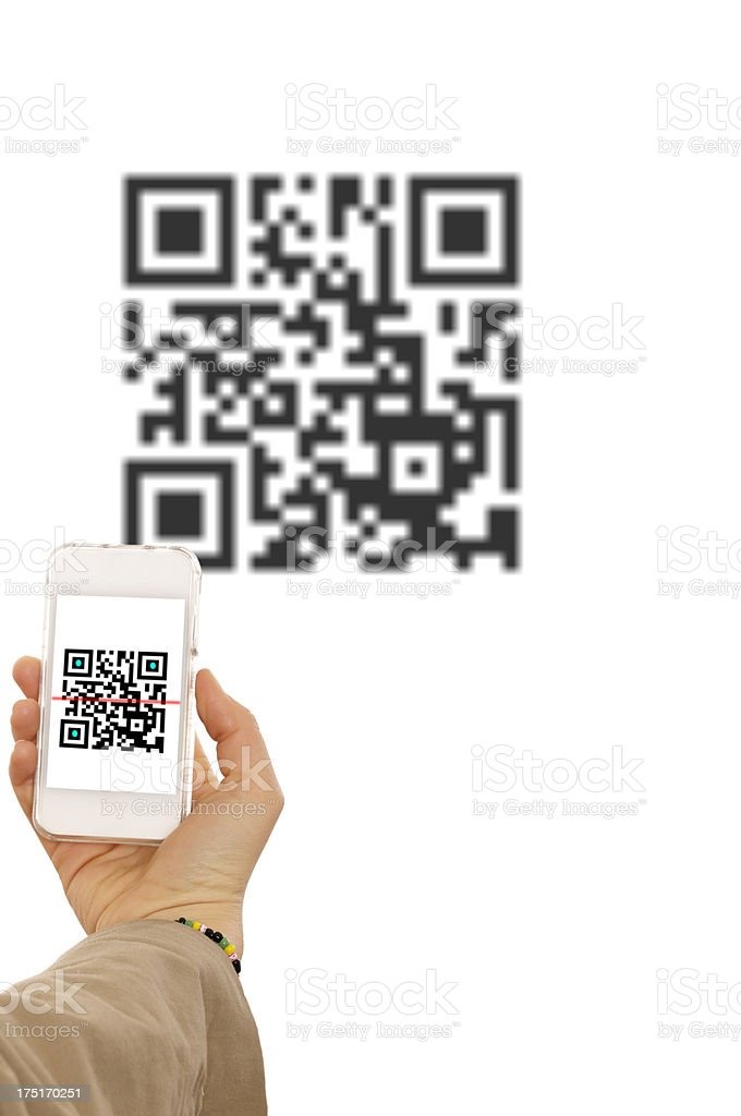 Hand Scanning QR Code.Isolated. royalty-free stock photo