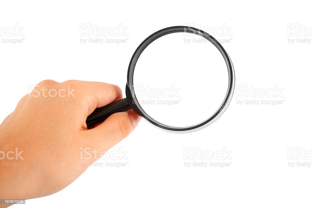 hand searching with magnifying glass on white royalty-free stock photo