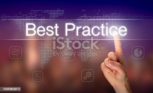 926292396 istock photo A hand selecting a Best Practice business concept 1055963972