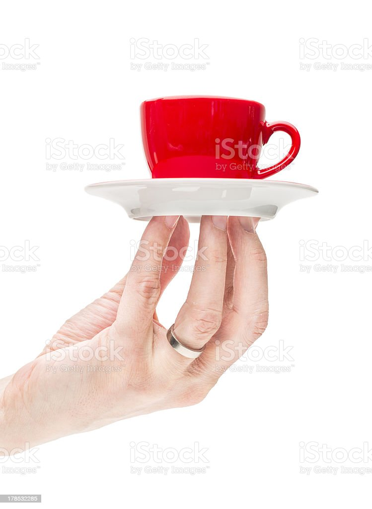 Hand serve red coffee cup royalty-free stock photo