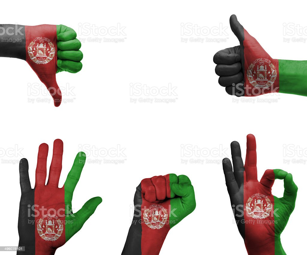 Hand set with the flag of Afghanistan stock photo