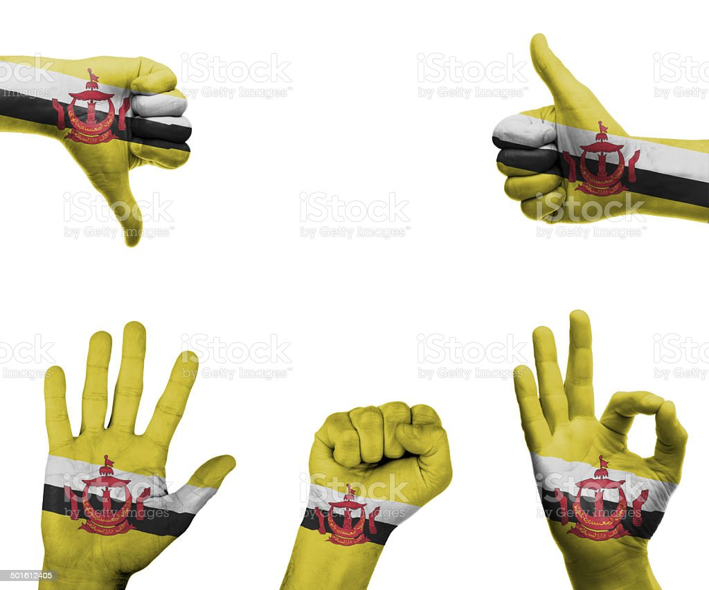 Hand set with the flag of Brunei stock photo