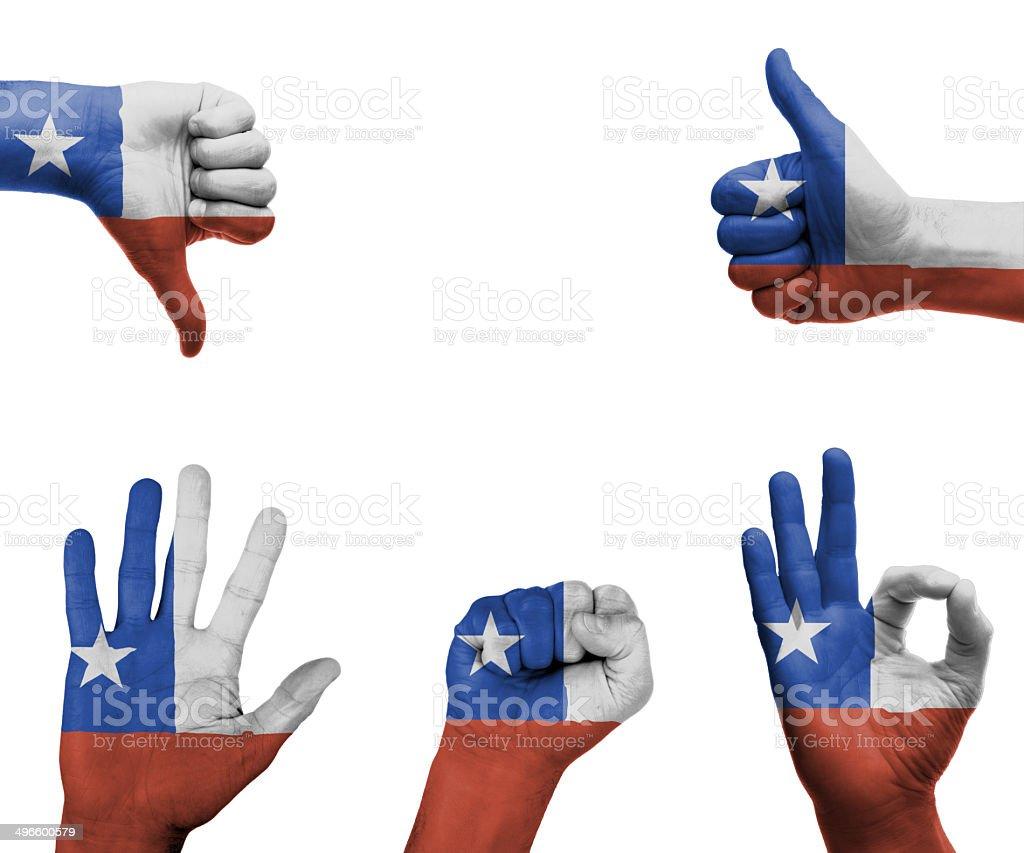 Conjunto de mão com a bandeira do Chile - foto de acervo