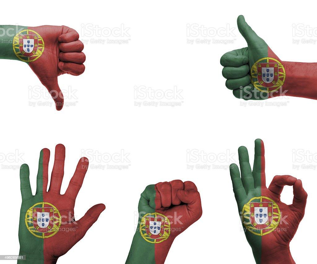 Conjunto de mão com a Bandeira de Portugal - fotografia de stock