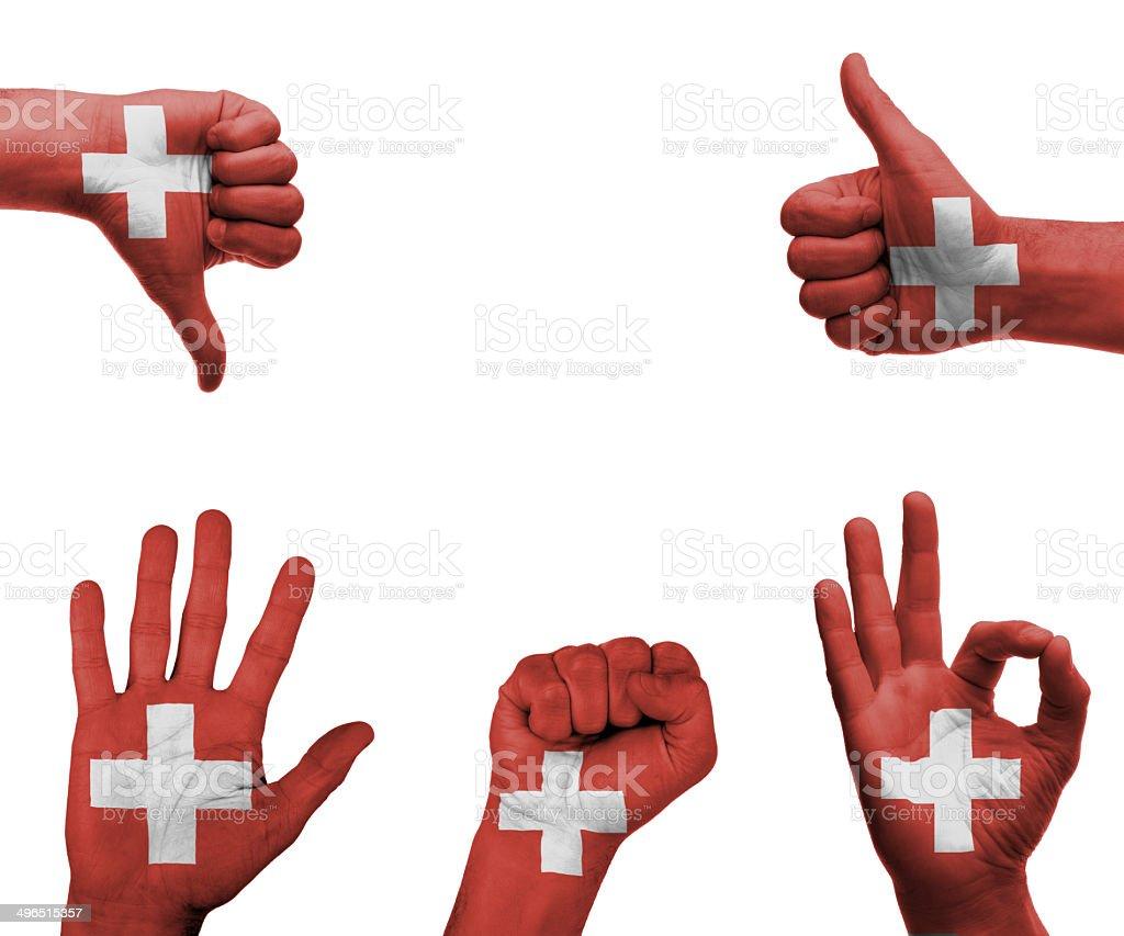 Hand set mit der Flagge der Schweiz – Foto