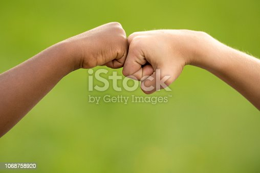 high five between a black and a white boy in a green meadow