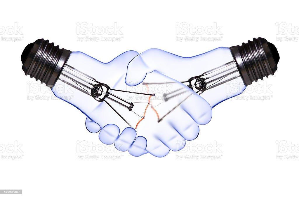 hand shake light bulb royalty-free stock photo