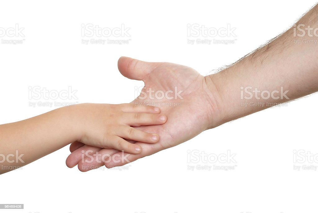Hand shake of the child and father royalty-free stock photo