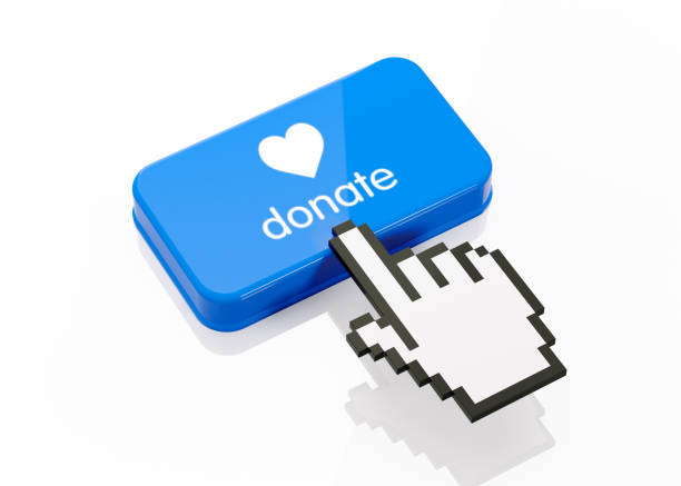 hand shaped computer cursor clicking on a blue button: donate writes on button - organ donation stock pictures, royalty-free photos & images