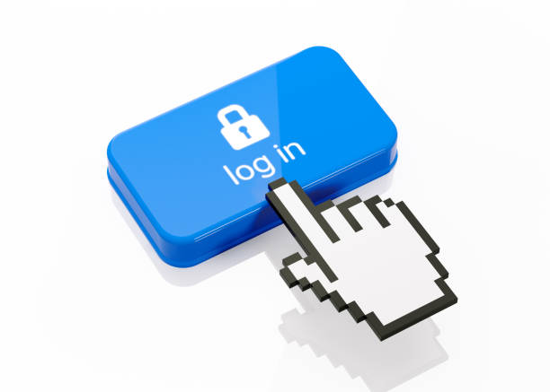 hand shaped computer cursor clicking on a blue button: log in writes on button - mouse pointer stock photos and pictures