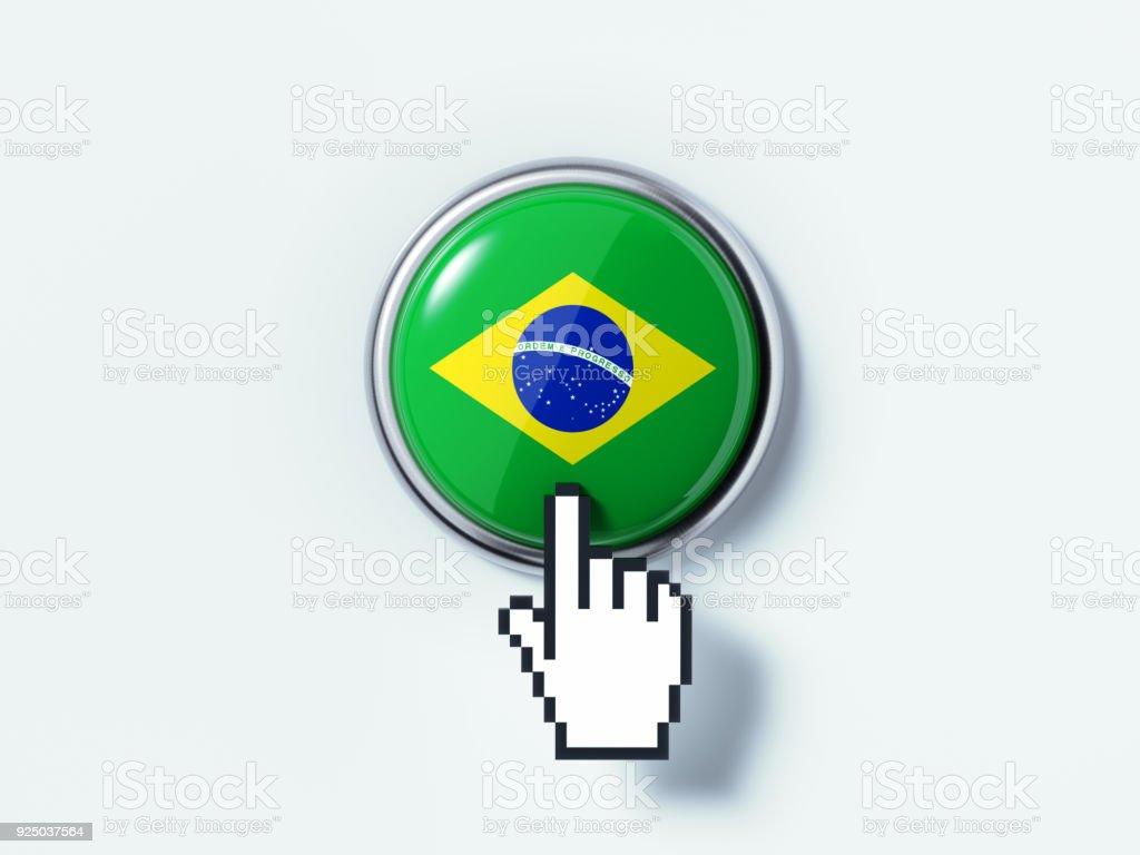Mão em forma de Cursor de computador clicando em um botão de pressão texturizado com bandeira do Brasil - foto de acervo