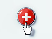 Hand Shaped Computer Cursor Clicking On A Push Button Textured With Swiss Flag