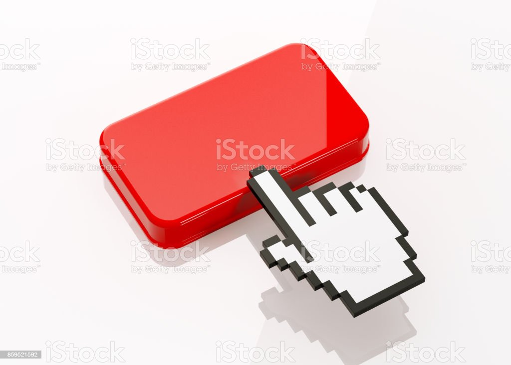 Hand Shaped Computer Cursor Clicking On A Red Button: Refer A Friend Writes On Button stock photo