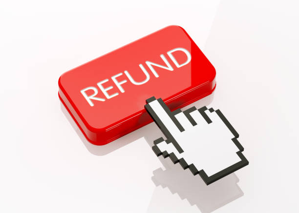 Hand Shaped Computer Cursor Clicking On A Red Button: Refund Writes On Button Hand shaped computer cursor is clicking on a red computer button on white reflective surface. Refund writes on button. Horizontal composition with copy space and clipping path. refund stock pictures, royalty-free photos & images