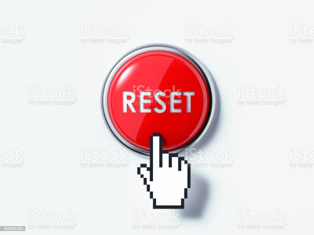 Mano en forma de Cursor de la computadora haciendo clic en un botón rojo - foto de stock