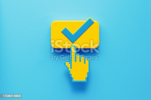 Hand shaped computer cursor clicking on a yellow computer button on blue background. Check mark is written on push button. Horizontal composition with copy space. Control concept.