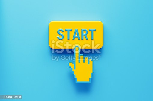 Hand shaped computer cursor clicking on a yellow computer button on blue background. Start is written on push button. Horizontal composition with copy space. New business concept.