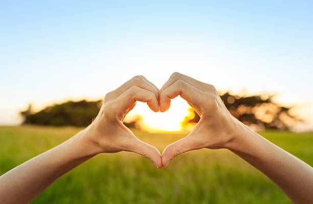 Hand shaped heart against sunset Hand shaped heart against a beautiful sunset.  love at first sight stock pictures, royalty-free photos & images