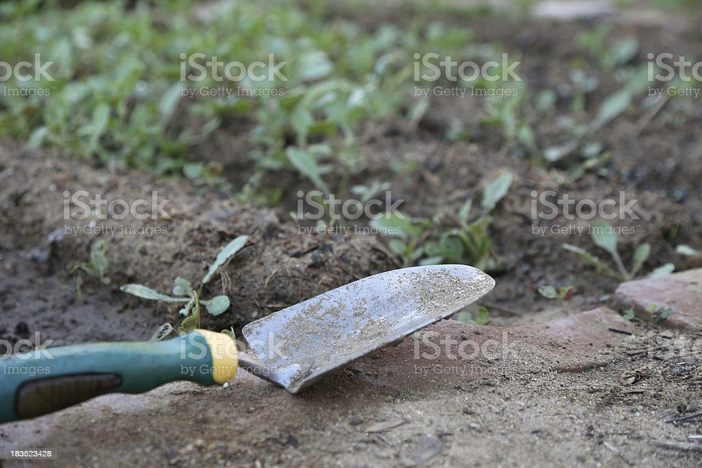 Hand Shovel in Front of Garden royalty-free stock photo
