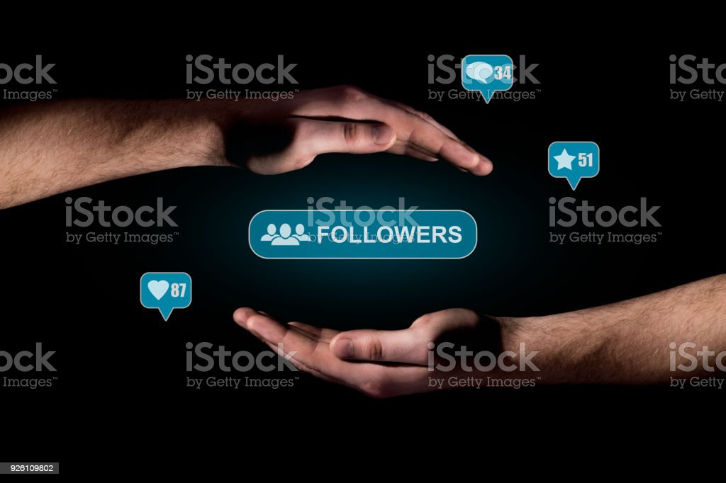 Hand show a icons of social network message stock photo