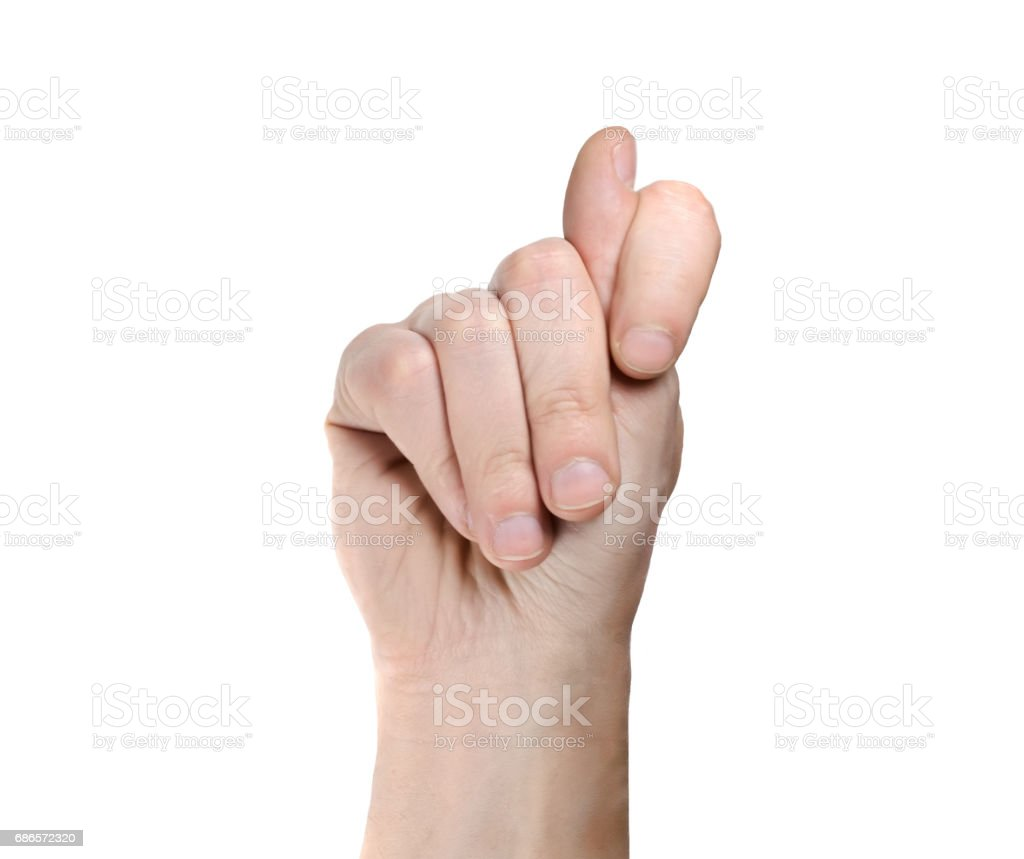 Hand showing a fig sign isolated on white background ロイヤリティフリーストックフォト