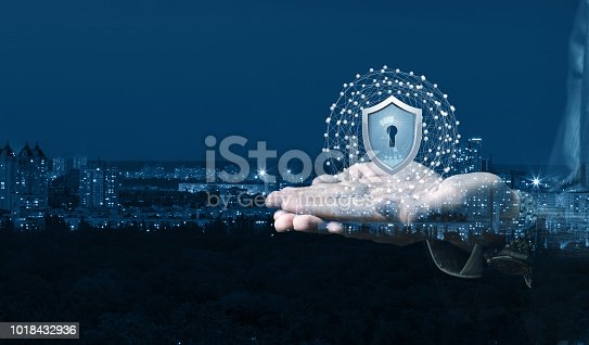 906892336 istock photo Hand showing a shield of protection network . 1018432936