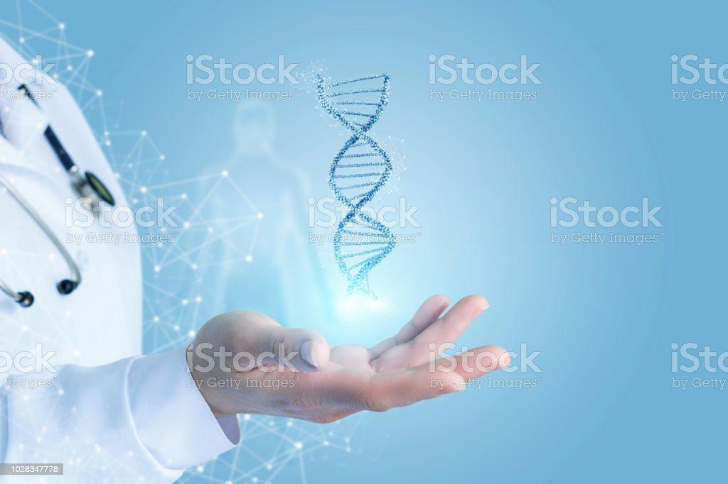 Mano con ADN. foto de stock libre de derechos