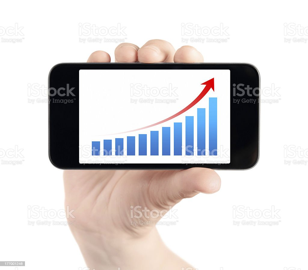 Hand Showing Mobile Phone With Success Chart royalty-free stock photo