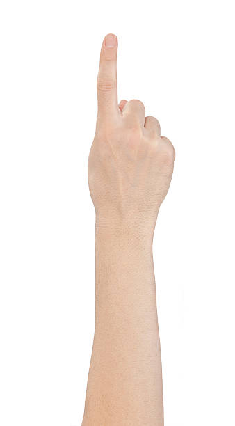 hand showing one finger on white background - finger point stock photos and pictures