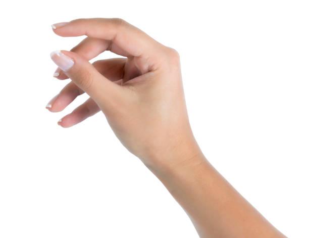 白で隔離サイズ ジェスチャーを示す手 - 手 女性 ストックフォトと画像