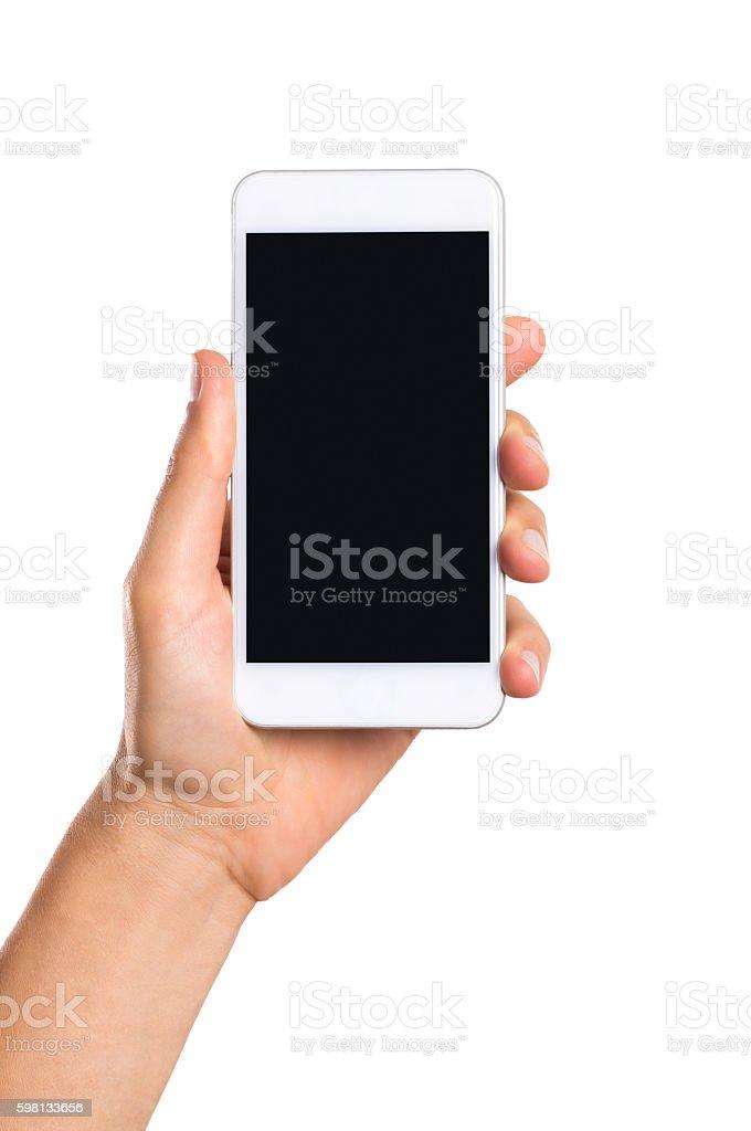 Hand zeigen ein smartphone – Foto