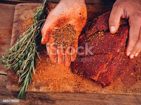 Overhead shot of a person's hand showing some spicy seasoning alongside a piece of quality raw pork on a vintage wooden table with herbs