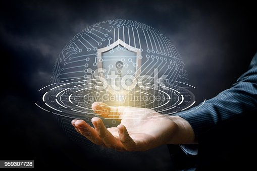 1156072209istockphoto Hand showing the shield for protecting systems. 959307728