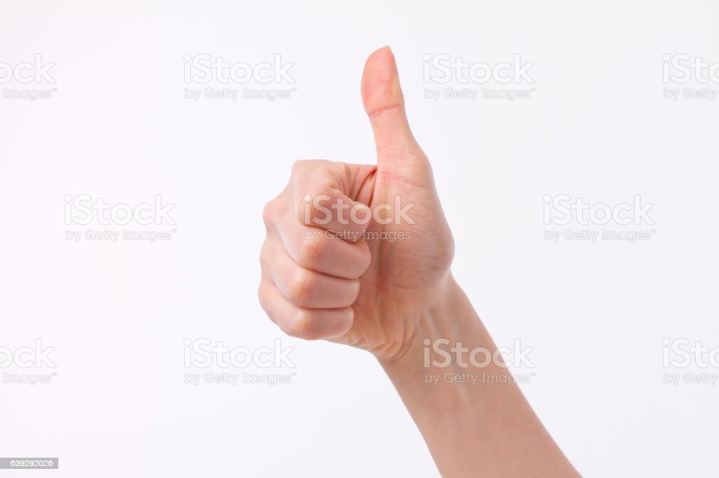 hand showing thumb up, like, good, approval, acceptance, okay stock photo