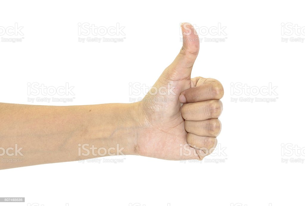 hand showing thumbs up stock photo