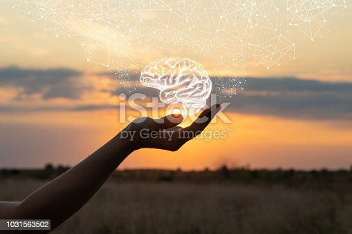 istock Hand shows the brain . 1031563502