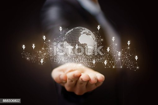 istock Hand shows the global network . 888306802