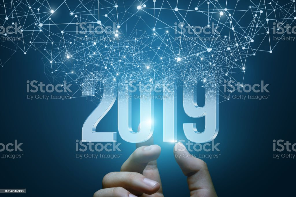 Hand shows the numbers 2019 . stock photo