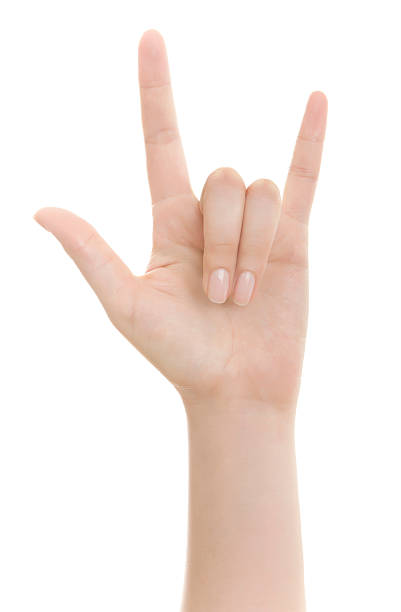 hand sign - clipping path - i love you stock photos and pictures