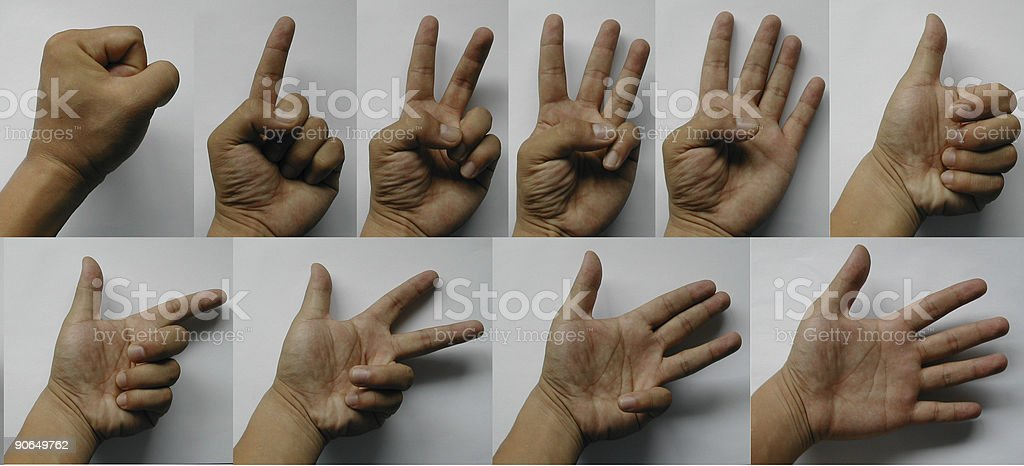 Hand - sign language 0 to 9 - 4064 x 1848 royalty-free stock photo