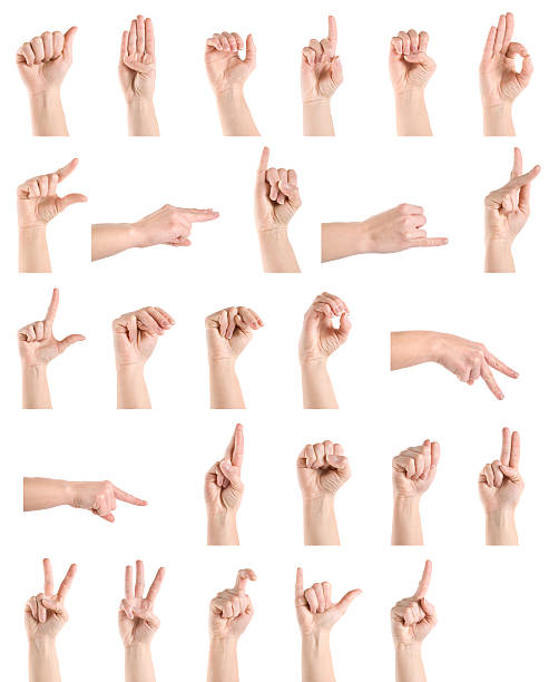 Hand sign language alphabet stock photo