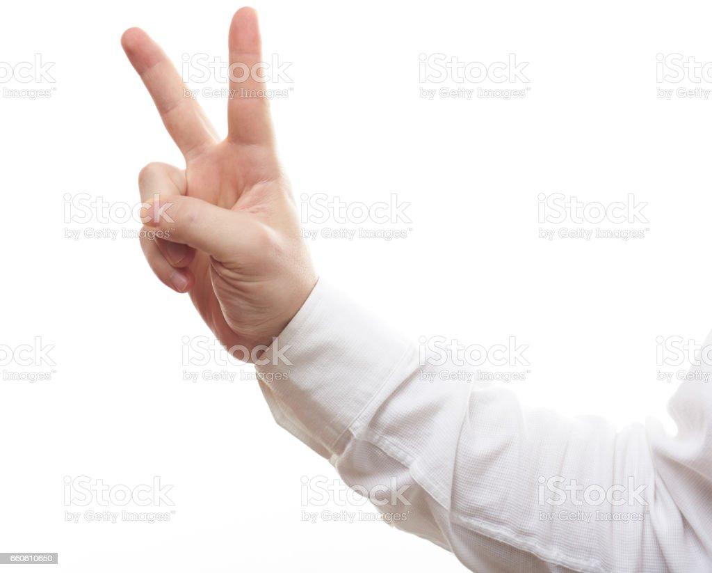 V hand sign royalty-free stock photo