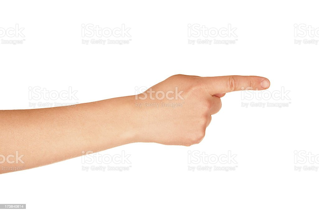 Hand sign. Pointing or pressing stock photo