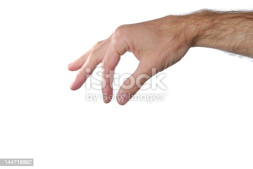 182925103 istock photo Hand sign punching in air against isolated white background 144718862