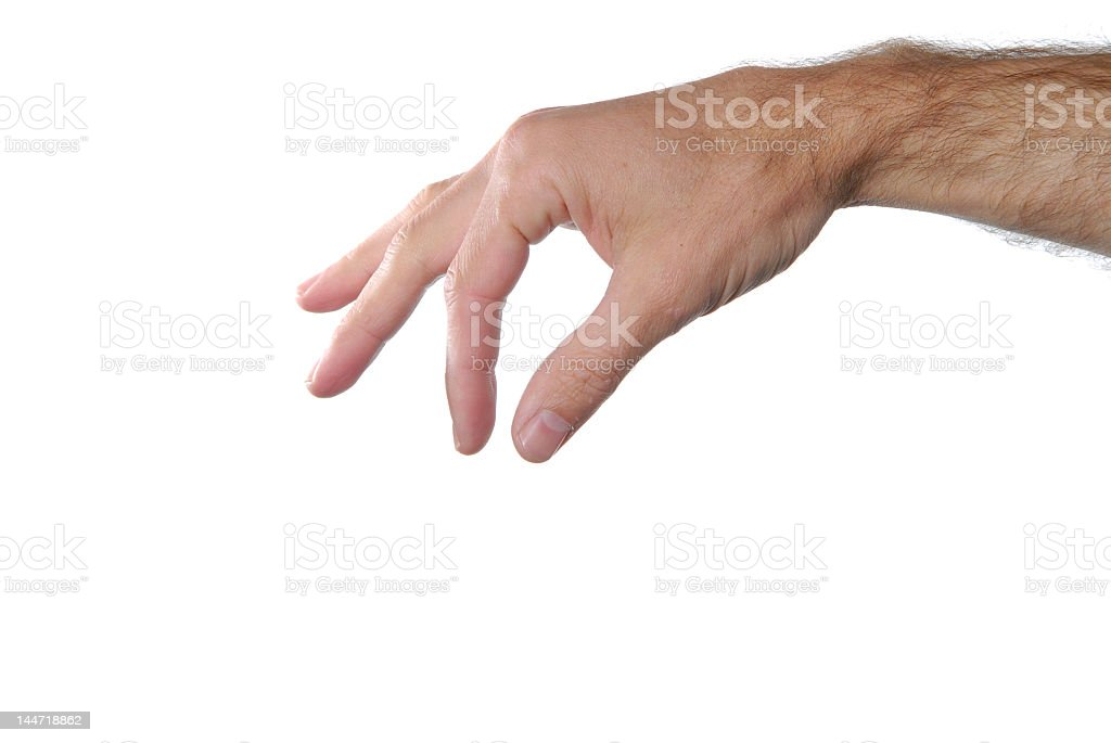 Hand sign punching in air against isolated white background stock photo