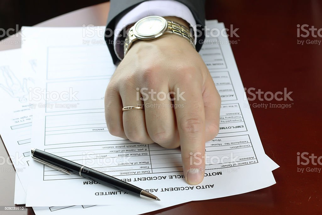 hand signature form car accident stock photo