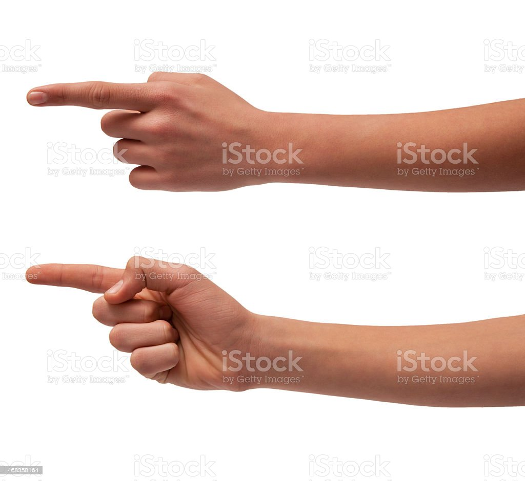 Hand signs. Pointing or touching something. Isolated royalty-free stock photo