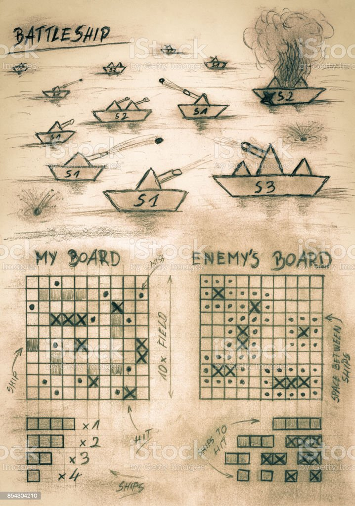 Hand sketch sepia battleship game on sea stock photo